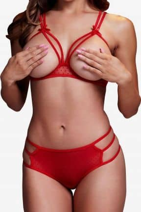Sexy sets Strappy Open Bra & Panty Set O/S Red