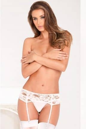 Tights & Stay-ups Lace Garter Belt White S/M