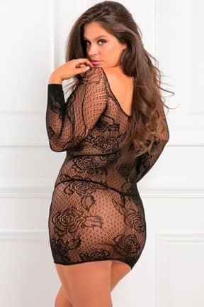 Plus Size Tie Breaker Long Sleeve Dress Black X OS