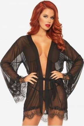 Sexy Dresses Sheer Robe with Flared Sleeves S/M