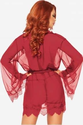 Sexy Dresses Sheer Robe with Flared Sleeves Red XL
