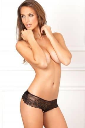 Crotchless Lace Bow-Back Panty Black