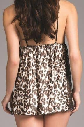 Plus Size Jennifer Leopard Satin Babydoll