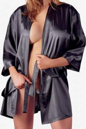 Plus Size Satin Kimono Black L/XL
