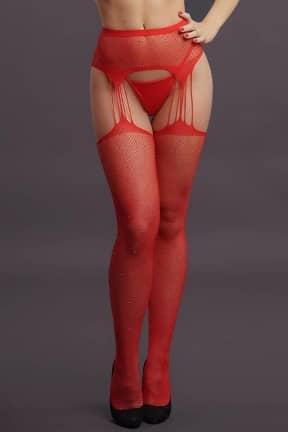 Sexy Underwear Le Désir - Suspender Rhinestone Pantyhose Red OS