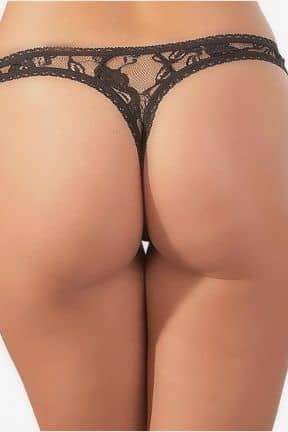 Plus Size Öppen stringtrosa i svart spets - XL